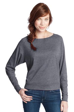 District® DT272 Juniors Textured Wide Neck Long Sleeve Raglan