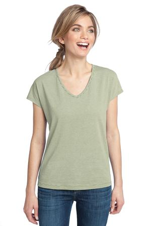 District Made™ DM422 Ladies Mini Stripe Dolman V-Neck Tee