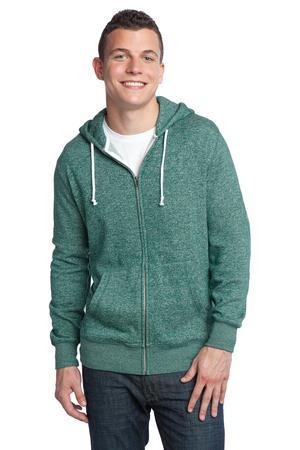 District® DT192 Young Mens Marled Fleece Full-Zip Hoodie
