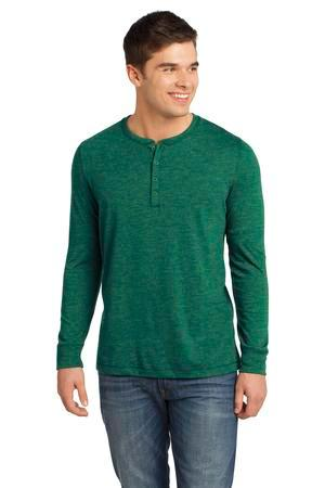 District - Young Mens Gravel 50/50 Long Sleeve Henley Tee. DT1401