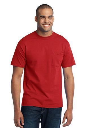 Port & Company Tall 50/50 Cotton/Poly T-Shirt with Pocket. PC55PT
