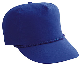 Crinkle taslon solid color five panel high crown golf style caps