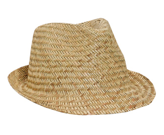 Natural straw fitted solid color six panel fedora hat