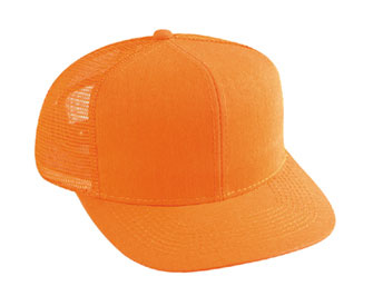 Neon cotton twill solid color six panel pro style mesh back cap