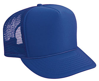 Polyester foam front solid color five panel high crown golf style mesh back caps