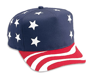 United States flag pattern cotton twill two tone color five panel low crown golf style cap