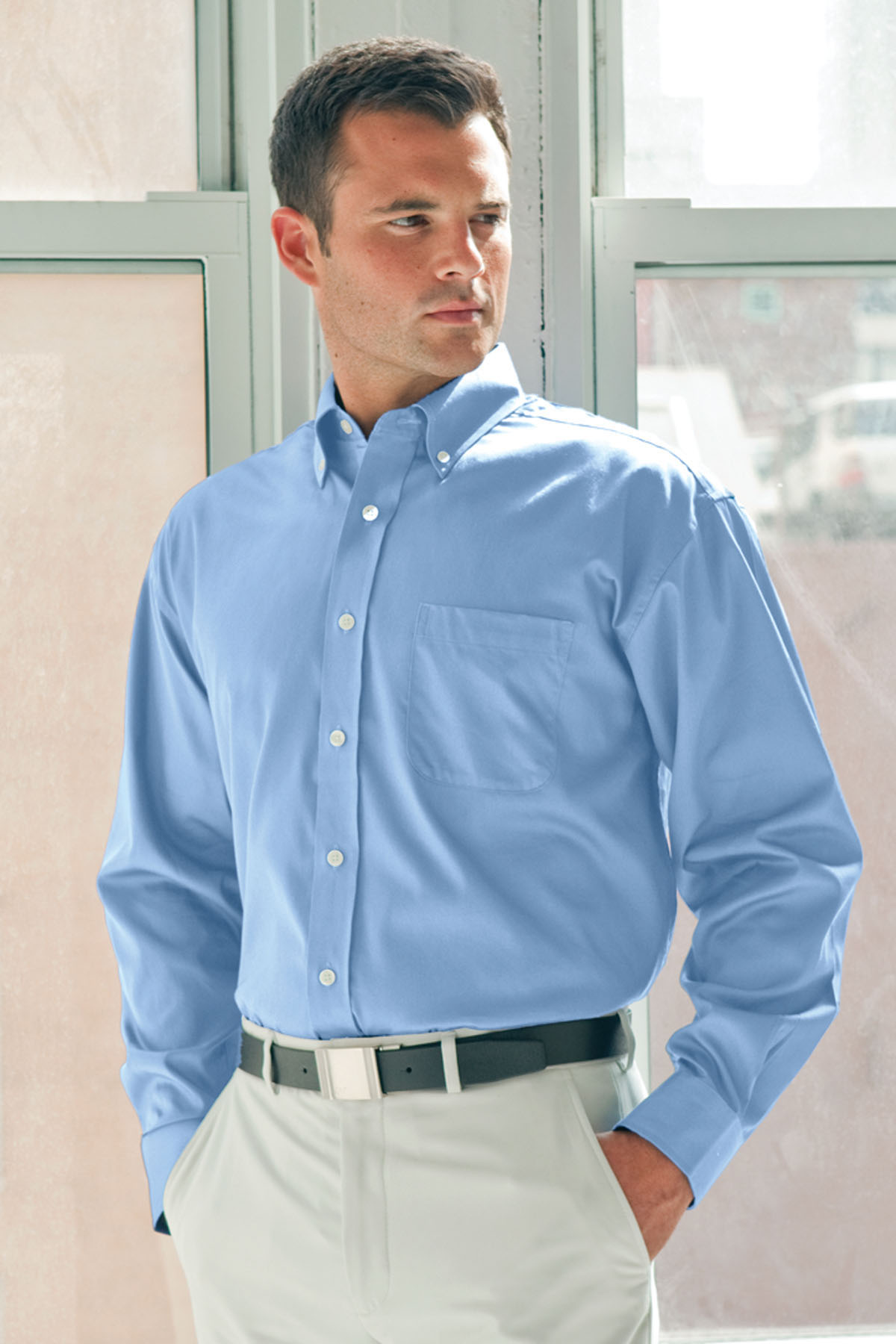 Vantage 1240 - Easy-Care Three Quarter Sleeve Solid Textured Shirt