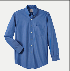 "Brooks Brothers BR620933 346 Slim Fit No-Iron Pinpoint Dress Shirt - 32/33"" Sleeve"