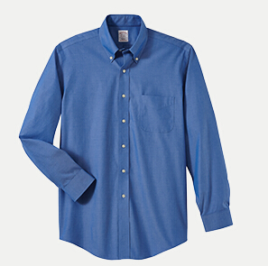 "Brooks Brothers BR620937 346 Slim Fit No-Iron Pinpoint Dress Shirt - 36/37"" Sleeve"