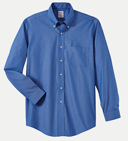 "Brooks Brothers BR621033 346 Regular Fit No-Iron Pinpoint Dress Shirt - 32/33"" Sleeve"