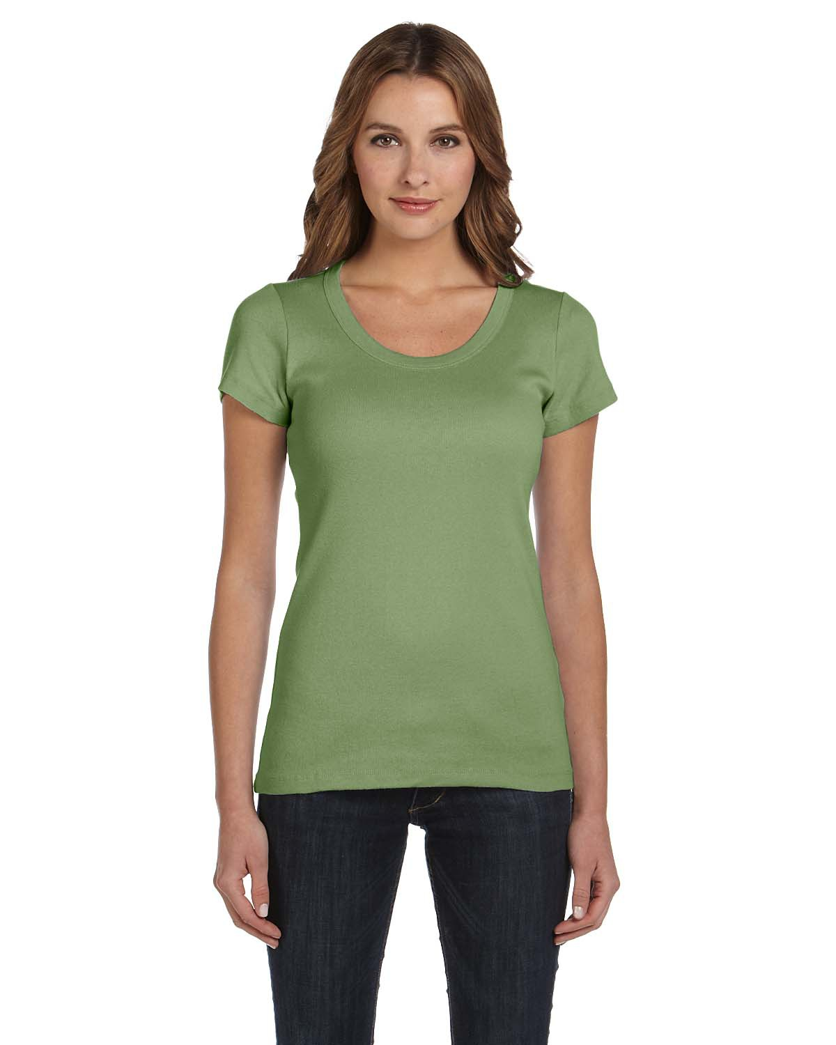 bella 1003 Ladies' 1x1 Short Sleeve Scoop Neck T-Shirt