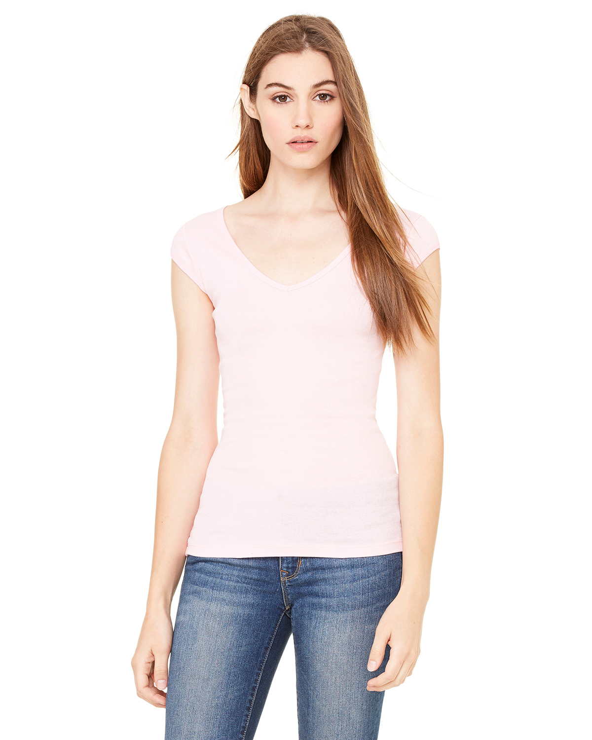 Bella 8705 Ladies' Tori Sheer Rib Longer Length Cap Sleeve Deep V-Neck T-Shirt