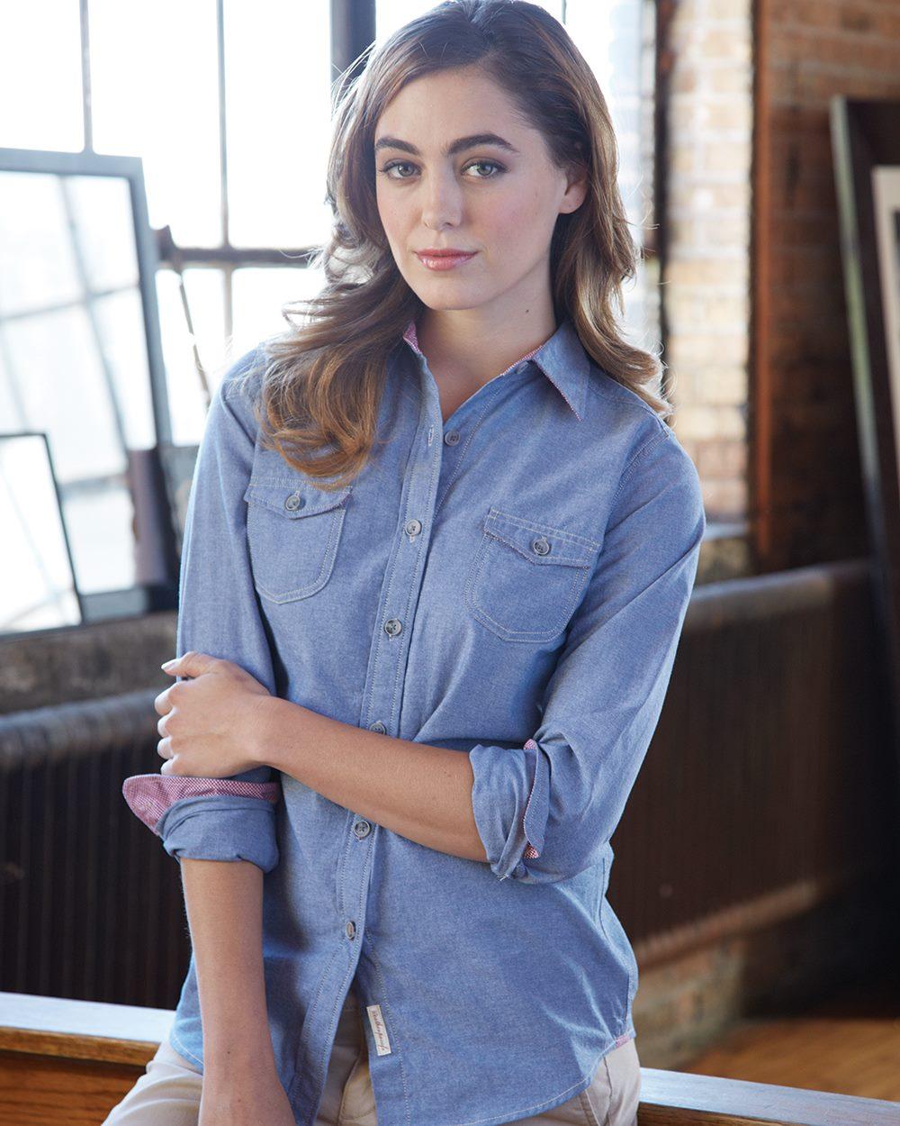 Weatherproof W154885 - Vintage Womens Chambray Long Sleeve Shirt