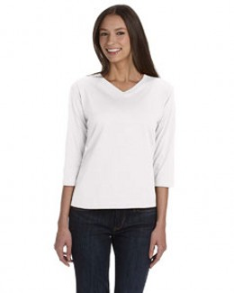 LAT 3577 - Ladie's Jersey V-neck Three Quarter Sleeve T-Shirt