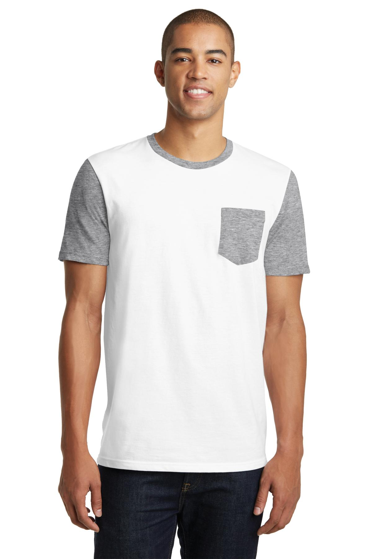 District  DT6000SP - Young Mens Very Important Tee  with Contrast Sleeves and Pocket